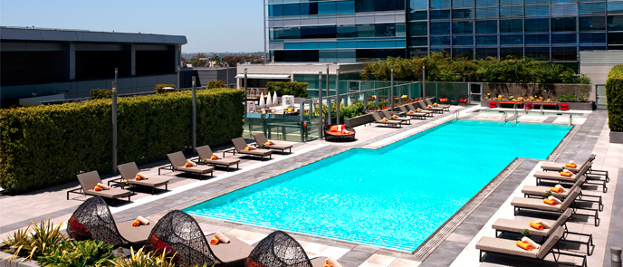 The Pools At The J W Mariott And The Ritz Carlton At La Live Downtown Los Angeles